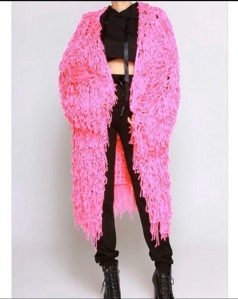 Hot Pink Fringe Long Sleeve Cardigan