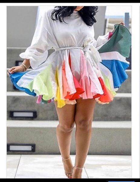 Rainbow Flare Mini Dress