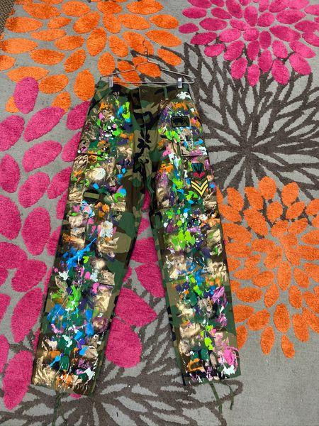 Paint Splashed Camouflage Pants