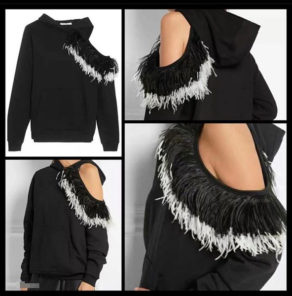 Feathered One Shoulder Sweatshirt