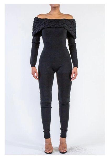 Off Shoulder Cable Knit Jumpsuit