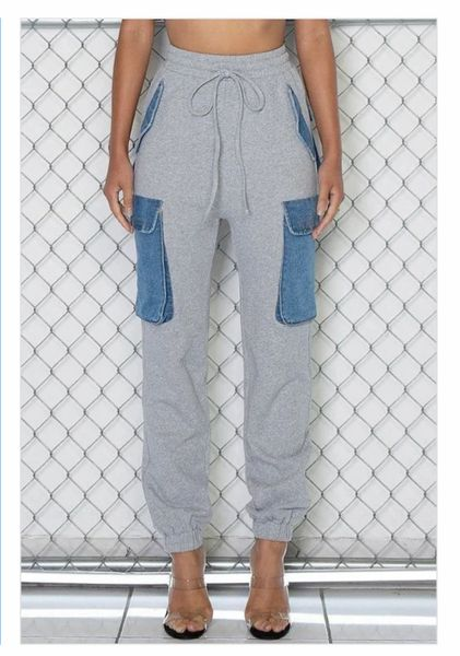 Denim Contrast Cargo Jogger Sweatpants