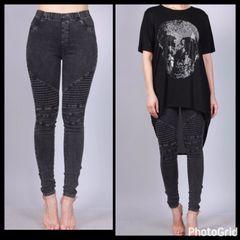 Antique Black Denim Moto Pants