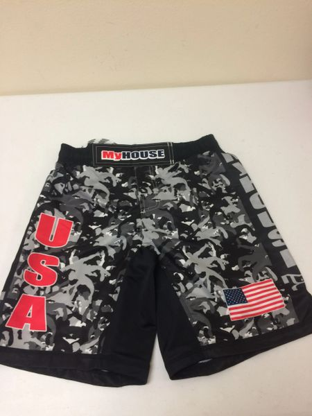 MyHouse Black/White Camo Fight Shorts