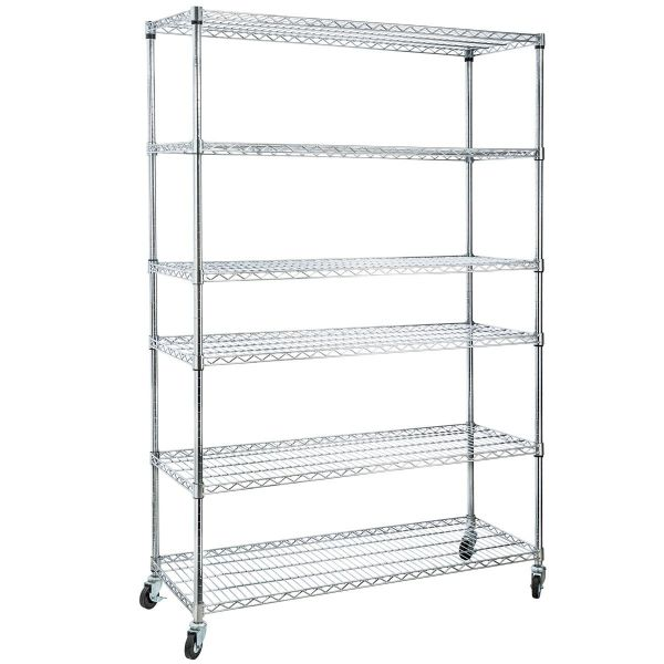 Home It 6 Shelf Commercial Adjustable Steel Shelving Systems On Wheels Wire Shelves Shelving