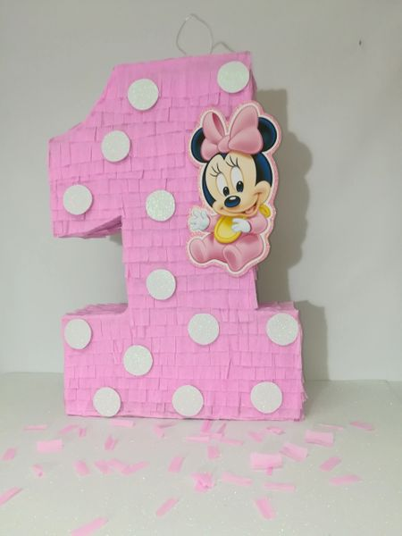 Minnie Mouse Number 1 Pinata Ready To Ship Minnie Mouse Pink Minnie Mouse Party Decoration Pink Minnie Mouse Birthday Party Minnie Mouse Birthday