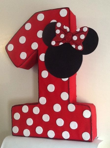 Minnie Mickey Mouse Polka Dots Number One Pinata Minnie Mouse Party Decoration Minnie Mouse Red Mickey Minnie Mouse Minnie Mouse Birthday Party