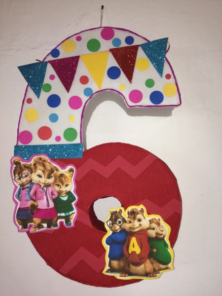 Number 6 Alvin And The Chipmunks Pinata Alvin And The Chipmunks Birthday Party Alvin And The Chipmunks Party Decoration