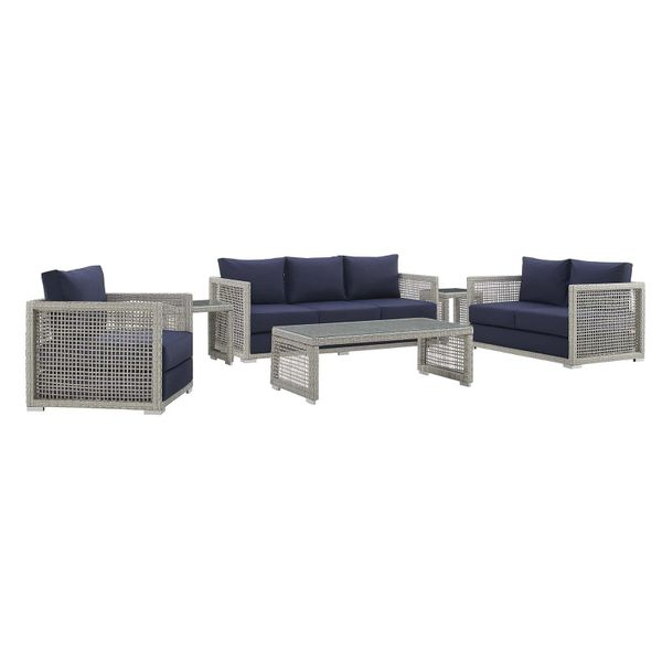 MD355900012 Patio set 6 pieces gray/navy