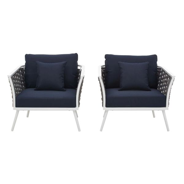 MD3162000016 Armchair Patio Aluminum -White / Navy- Set of 2