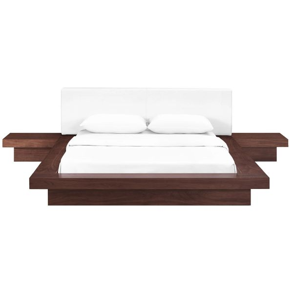MD549300024 3 Piece Queen Leatherette white and walnut Bedroom