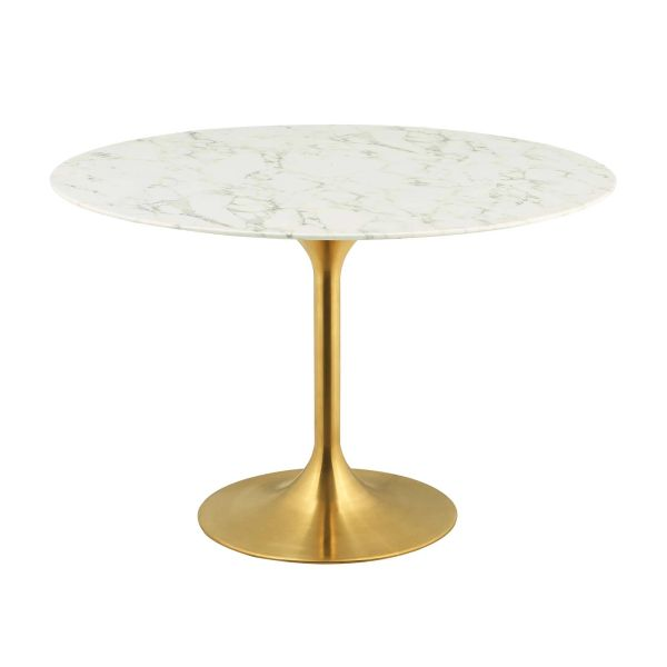 "MD3232000026 47"" Round Artificial Marble Dining Table /Gold -White"