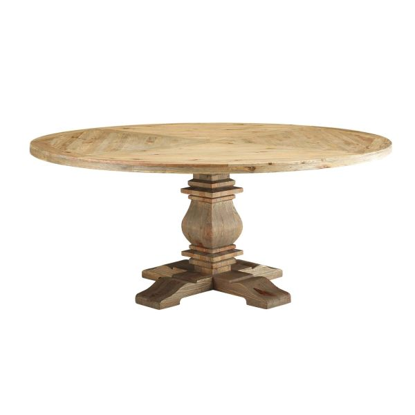 "MD3495000029. 71"" Round Pine Wood Dining Table in Brown"