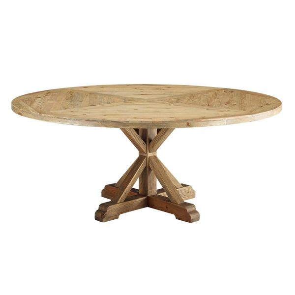"MD3496000030 71"" Round Pine Wood Dining Table Brown"