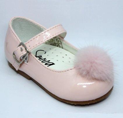 25fec5935 Girls Sevva Hazel Pom Pom Shoes-Pink,White,Black,Navy,Camel.2-2 |  Children's Special Occasionwear