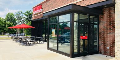 Aluminum storefronts, commercial glazing, commercial glass, St. Charles, St. Louis glass.