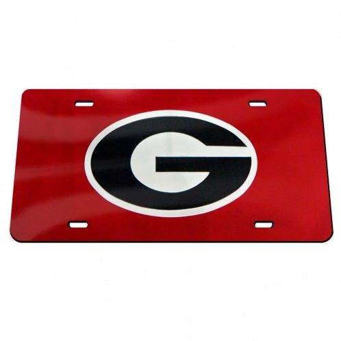 License Plate, Georgia (G Oval), Red/Black
