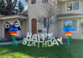 Birthday balloon yard sign art balloon letters outdoor balloon milestone balloon kids balloons