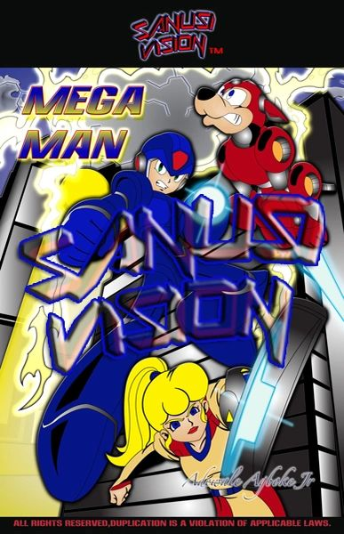 Megaman 16in x 20in canvas print