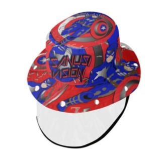 Captain America bucket hat with face shield