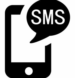 Texto logo with SMS symbol on intelligent telephone.