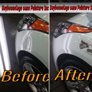 Before and after paintless dent repair photo of dent on white Hyundai Veloster front fender.