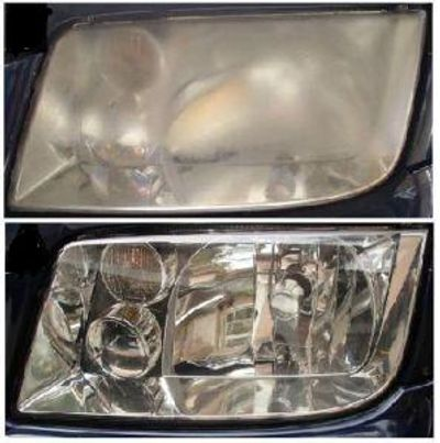 Photos of before and after headlamp restoration.