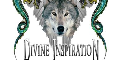 winged wolf head surrounded by two green flying dragons. The logo of Mark Allan Wolfe