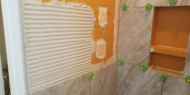 "alt=""Tile Installation over Schluter shower system"""