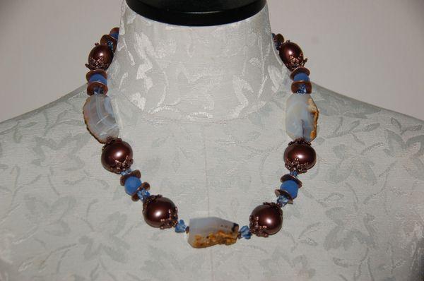 Blue Glass & Rough Agates