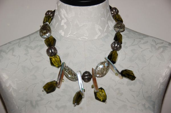 Green Shells & Irregular Glass Beads