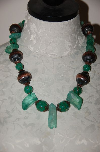Green Quartz & Glass Beads