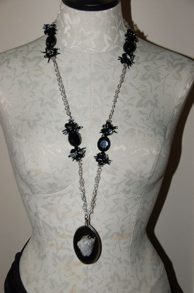 Long Silver-Tone Chain With Pendant