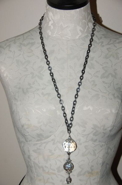 Silver-tone Chain with Central Crystal