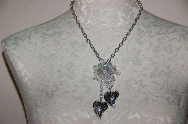Crystal Flower on Silver-Tone Chain