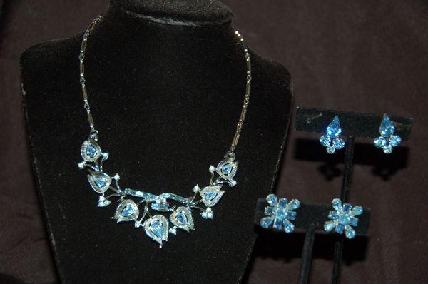 Blue Rhinestone Necklace & Earrings