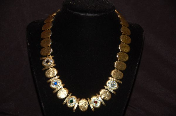 Gold-Tone Multi-Colored Rhinestone Necklace