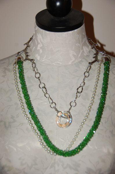Pearls & Green Crystals