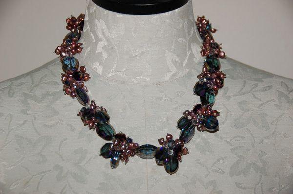 Purple Crystals & Fresh Water Pearls