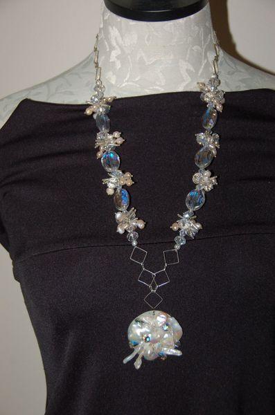 Long Silver-Tone Chain, Pendant