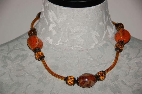 Orange Pottery Beads