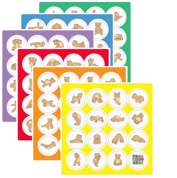 Yoga Teddy Bear Sticker Set
