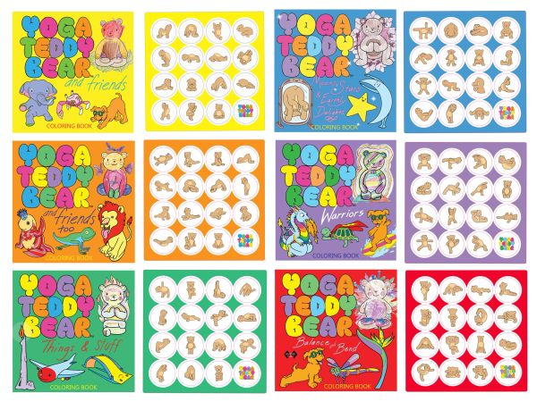 Complete Set of Yoga Teddy Bear Coloring Books with Matching STICKERS