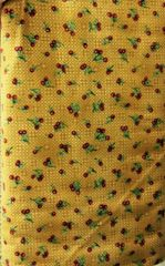 Light brown/tan woven look FLANNEL Fabric with dark red cherries and green leaves and stem