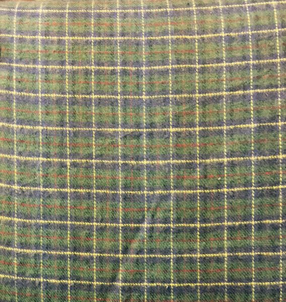 Plaid FLANNEL Fabric - dark blue, dark green, light colored stripes small red stripe