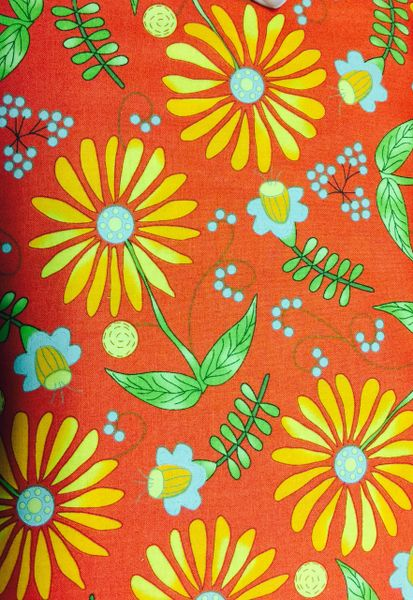 MODA Bobbins and Bits Prints by Pat Sloan Orange/ Red Background with Floral Print 43020-12