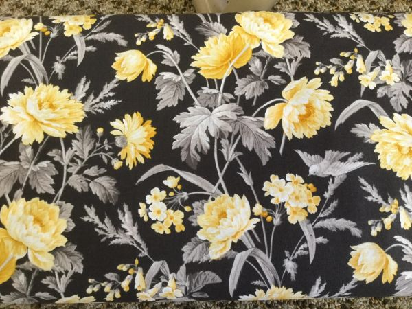QT Hideaway large print. Black grey yellow flowers floral