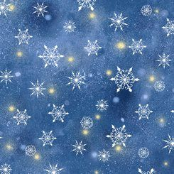 Quilting Treasures Woodland Cuties Holiday Blue White Snowflakes