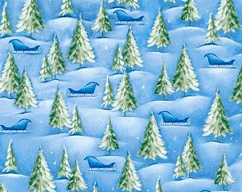 Quilting Treasures Woodland Cuties Holiday Snow Trees Sled