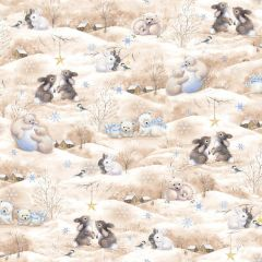 Quilting Treasures Woodland Cuties Holiday Tan Rabbits Bears Snowflakes